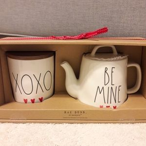 Rae Dunn XOXO cellar hearts & BE MINE tea pot